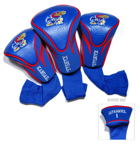 Kansas Jayhawks 3 Pack Contour Head Covers
