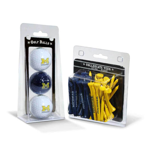 Michigan Wolverines 3 Golf Balls And 50 Golf Tees