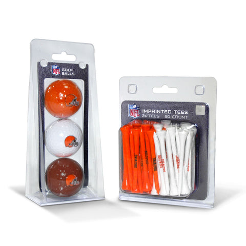 Cleveland Browns 3 Golf Balls And 50 Golf Tees