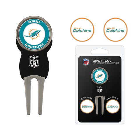 Miami Dolphins Divot Tool Pack With 2 Golf Ball Markers