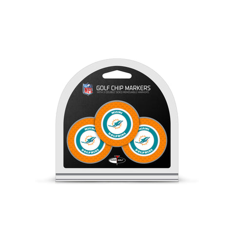 Miami Dolphins 3 Pack Golf Chip Ball Markers