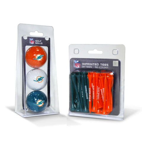 Miami Dolphins 3 Golf Balls And 50 Golf Tees