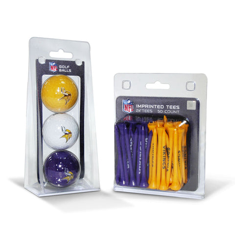 Minnesota Vikings 3 Golf Balls And 50 Golf Tees