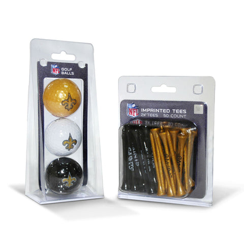 New Orleans Saints 3 Golf Balls And 50 Golf Tees