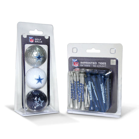 Dallas Cowboys 3 Golf Balls And 50 Golf Tees