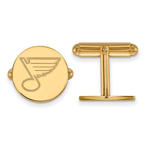 St. Louis Blues Cufflinks 14k Yellow Gold