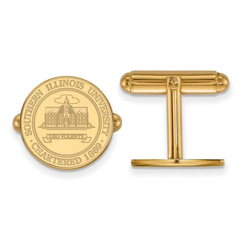 Southern Illinois Salukis Crest Cufflinks 14k Yellow Gold