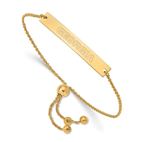 Georgia Bulldogs Small Bar Adjustable Bracelet Gold Plated