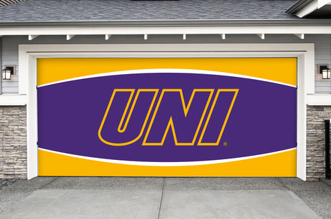 Northern Iowa Panthers 7' X 16' Double Garage Door Decor 002