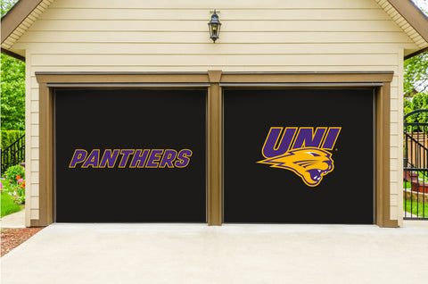 Northern Iowa Panthers 7' X 8' Split Garage Door Decor 001