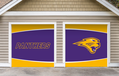 Northern Iowa Panthers 7' X 8' Split Garage Door Decor 002