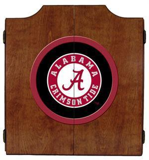 Alabama Crimson Tide Dartboard Cabinet in Pecan Finish