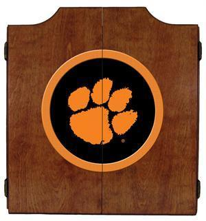 Clemson Tigers Dartboard Cabinet in Pecan Finish
