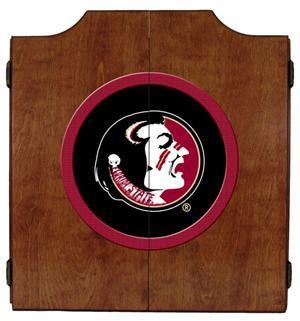FSU Seminoles Dartboard Cabinet in Pecan Finish