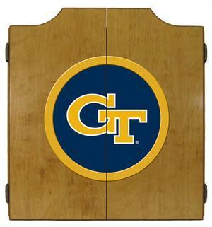 Georgia Tech Dartboard Cabinet in Oak Finish