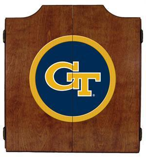 Georgia Tech Dartboard Cabinet in Pecan Finish
