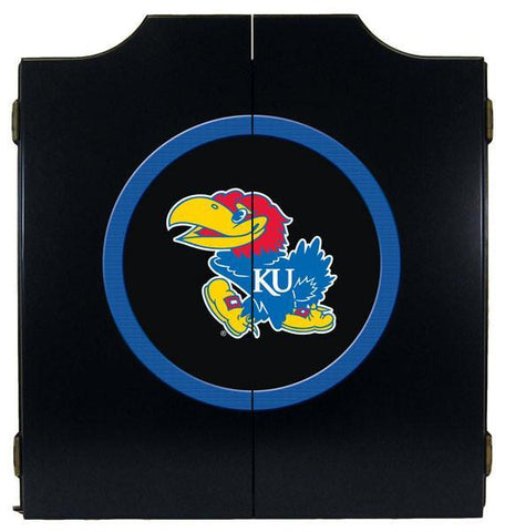 Kansas Jayhawks Dartboard Cabinet in Black Finish