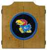 Kansas Jayhawks Dartboard Cabinet in Oak Finish