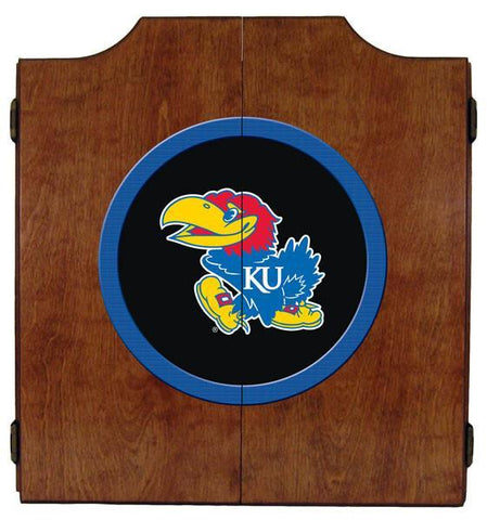 Kansas Jayhawks Dartboard Cabinet in Pecan Finish