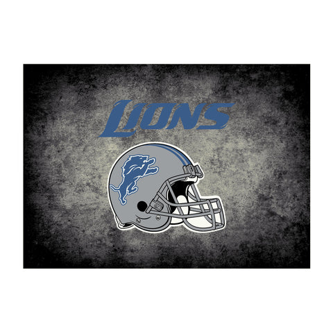 Detroit Lions 8X11 Distressed Rug