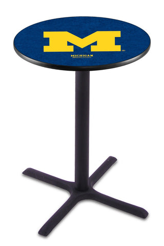 "Michigan Wolverines Pub Table Black Cross Base 42"" High"