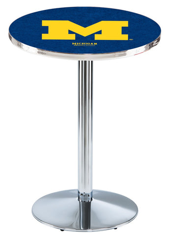 "Michigan Wolverines Pub Table Chrome Round Base 36"" High"