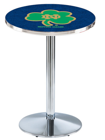 "Notre Dame  (Shamrock) Pub Table Chrome Round Base 36"" High"