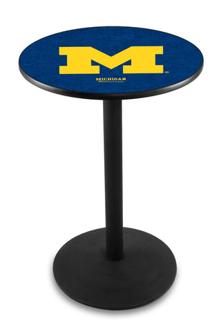 "Michigan Wolverines Pub Table Black Wrinkle Base 36"" High"