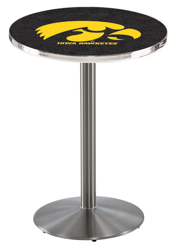 "Iowa Hawkeyes Pub Table Stainless Base 42"" High"