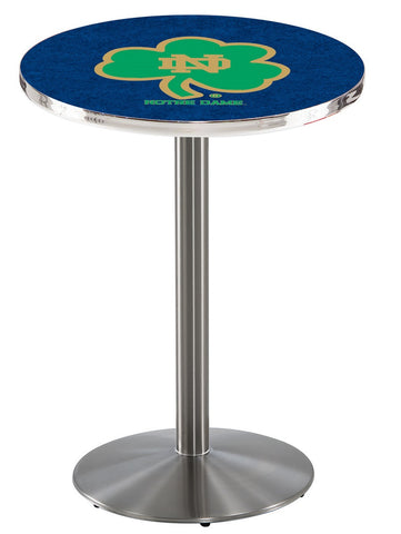 "Notre Dame  (Shamrock) Pub Table Stainless Base 36"" High"