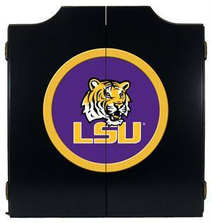 LSU Tigers Dartboard Cabinet in Black Finish