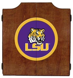 LSU Tigers Dartboard Cabinet in Pecan Finish