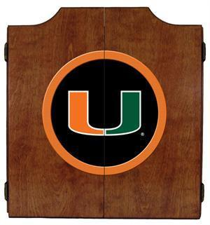 Miami Hurricanes Dartboard Cabinet in Pecan Finish