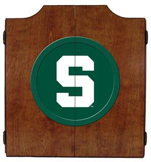 Michigan State Spartans Dartboard Cabinet in Pecan Finish