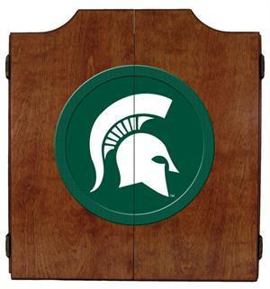 Michigan State Spartans Mascot Dartboard Cabinet in Pecan Finish