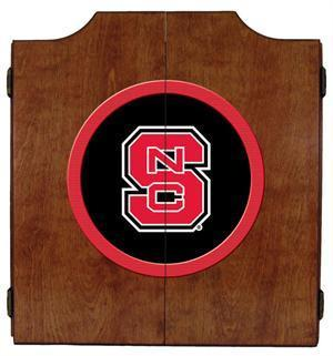 NC State Wolfpack Dartboard Cabinet in Pecan Finish