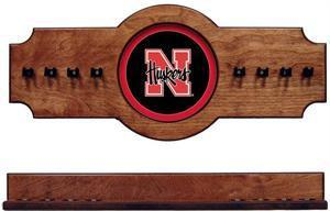 Nebraska Cornhuskers Pool Cue Rack in Pecan Finish