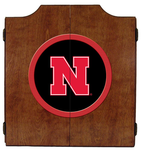 Nebraska Cornhuskers Dartboard Cabinet in Pecan Finish