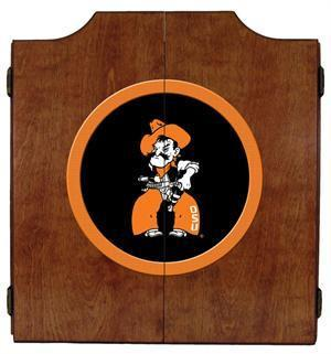 Oklahoma State Cowboys Dartboard Cabinet in Pecan Finish