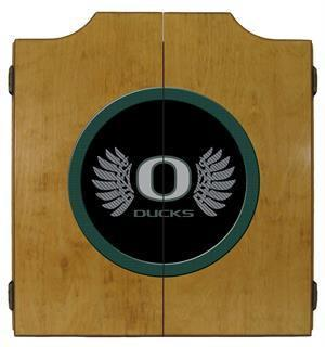 Oregon Ducks Dartboard Cabinet in Oak Finish