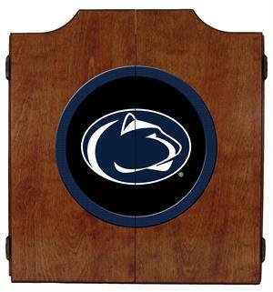 Penn State Nittany Lions Dartboard Cabinet in Pecan Finish