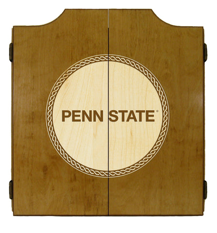 Penn State Nittany Lions Dart Cabinet Laser Engraved in Oak Finish