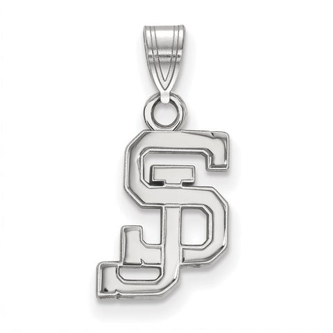 San Jose State Spartans Small Pendant 10k White Gold