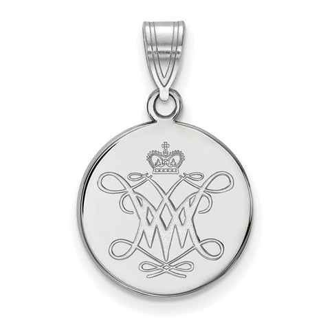 William And Mary Medium Disc Pendant 10k White Gold