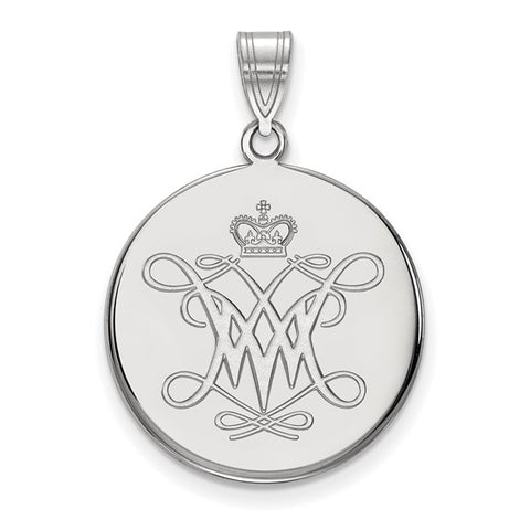 William And Mary Large Disc Pendant 10k White Gold