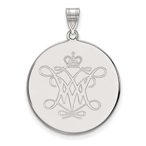 William And Mary XL Disc Pendant 10k White Gold