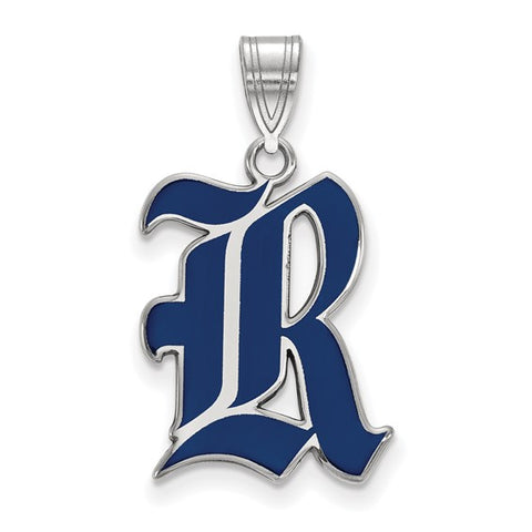 Rice Owls Large Enamel Pendant Sterling Silver