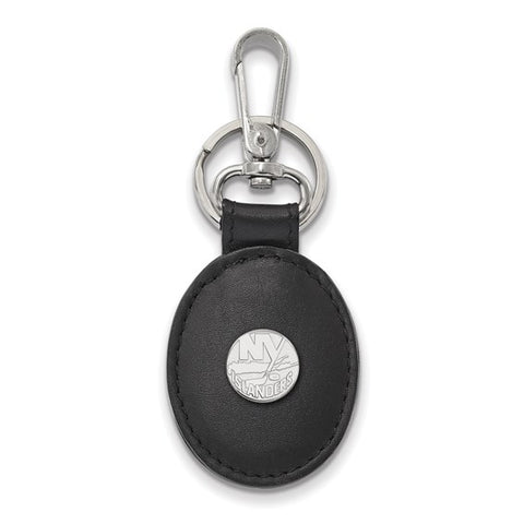 New York Islanders Black Leather Oval Key Chain
