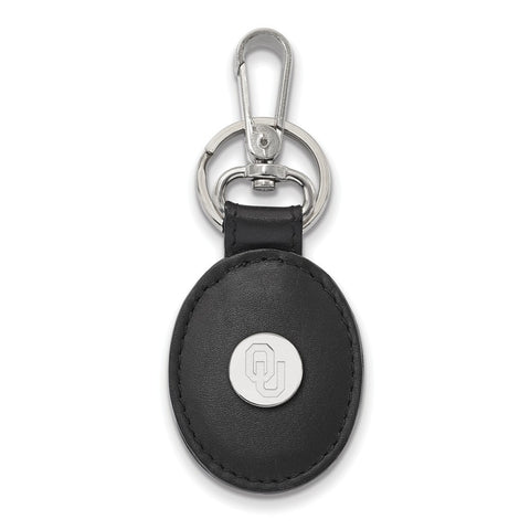 Oklahoma Sooners Black Leather Oval Key Chain Sterling Silver