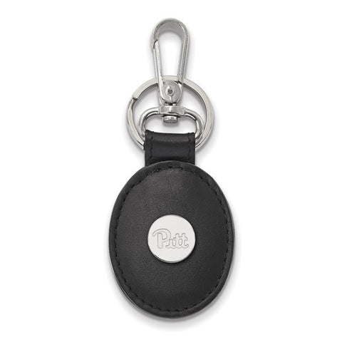 Pitt Panthers Black Leather Oval Key Chain Sterling Silver